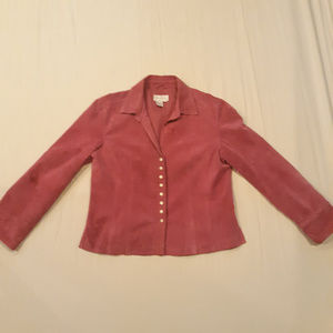 Live a little 100% leather pink button down jacket